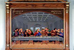 Arngrímur Gíslason málari frá Skörðum í Þingeyjarsýslu málaði altaristöfluna árið 1879 eftir frægu málverki Leonardo …