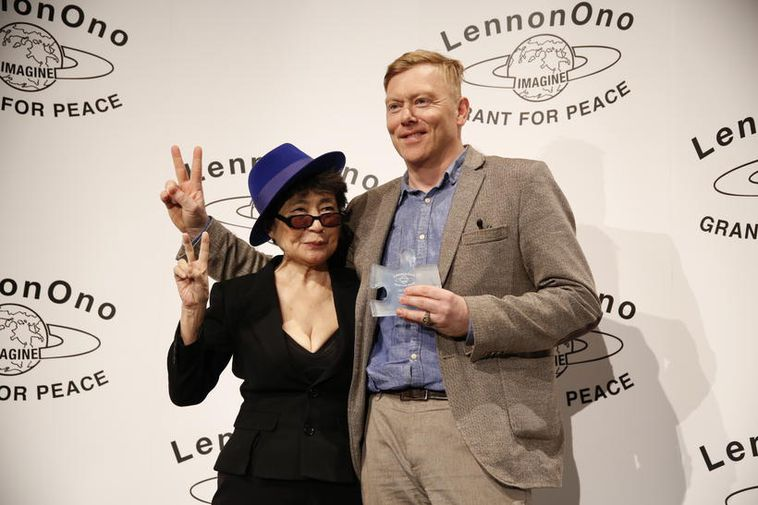 Former Mayor of Iceland, Jón Gnarr receiving the Lennon-Ono award for peace in October. .