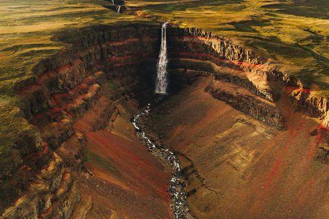 Hengifoss waterfall.
