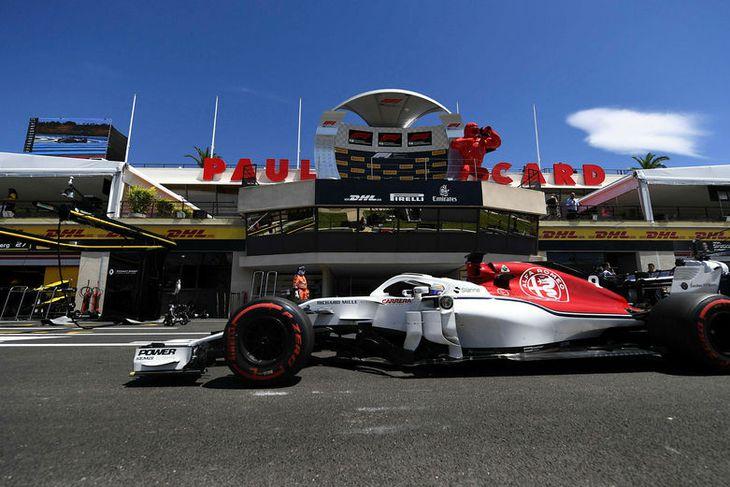 Romain Grosjean á Haas á heimavelli í Paul Ricard brautinni í Suður-Frakklandi.
