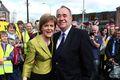 Skotland Alex Salmond og Nicola Sturgeon meðan allt lék í lyndi. Samband þeirra er baneitrað nú, en Salmond telur hana hafa bruggað sér launráð.
