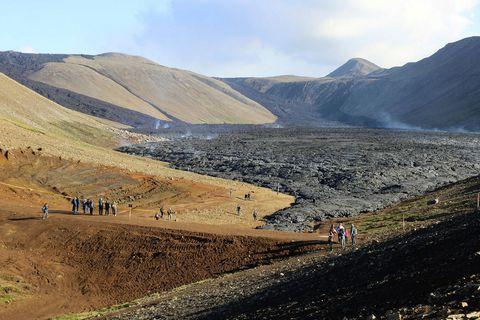 Virkni í gígnum í Geldingadölum hefur legið niðri síðustu fjórar vikur.