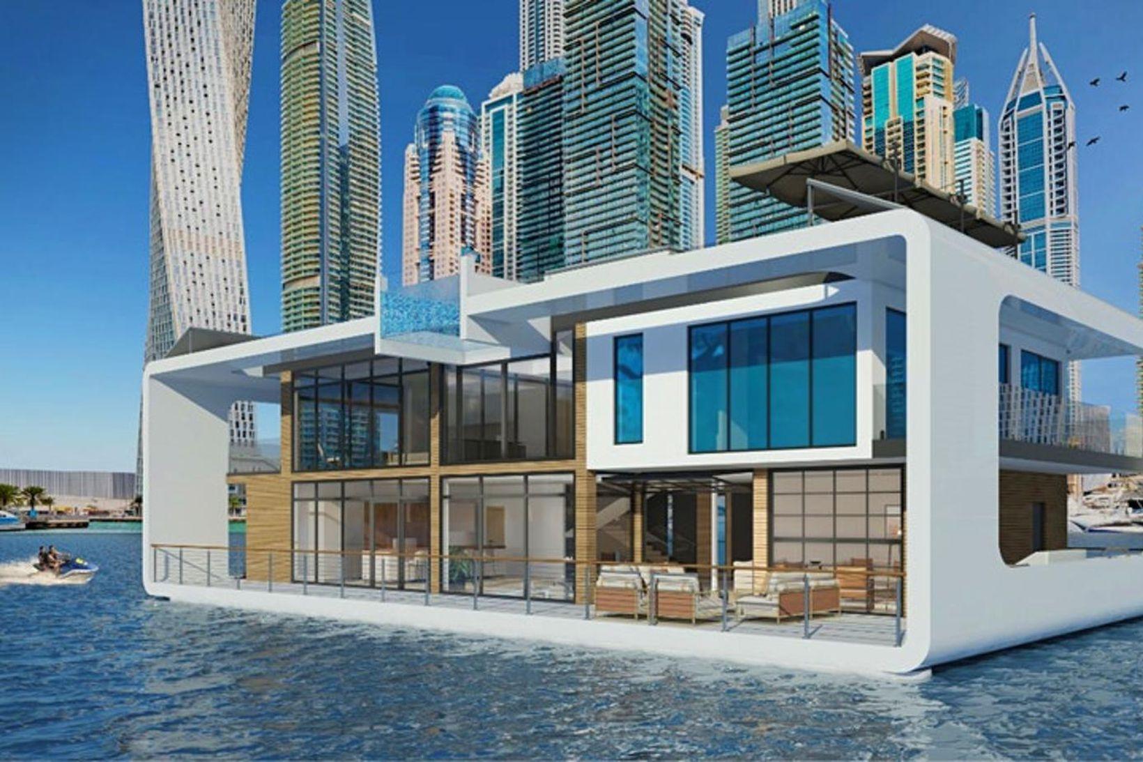 Lúxushótelið mun fljóta í höfninni við Dubai.