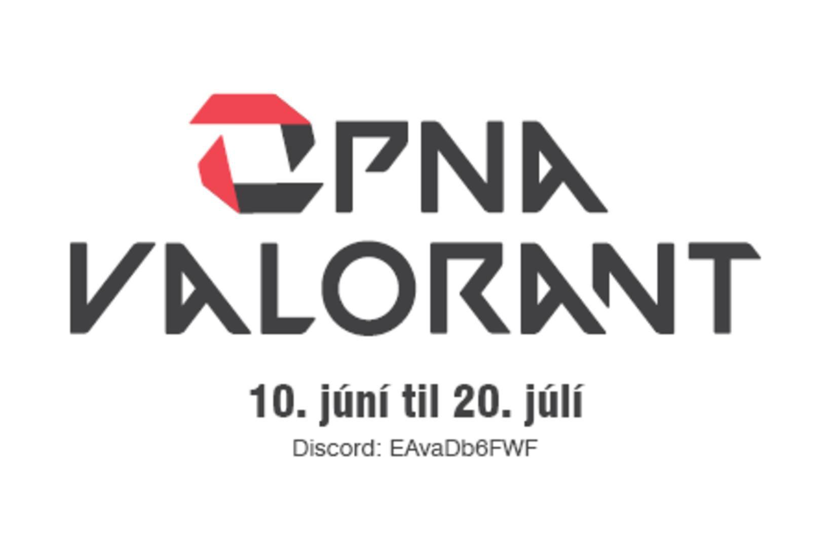 Auglýsing fyrir Opna Valorant-mótið.