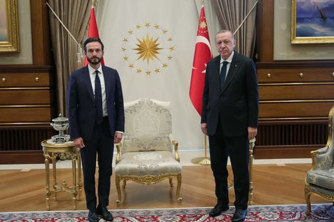 Róbert Spanó with Turkish President Recep  Erdoğan, Friday.