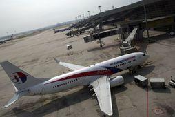 Flugvél frá Malasyan Airlines á flugvellinum í Kuala Lumpur árið 2012.