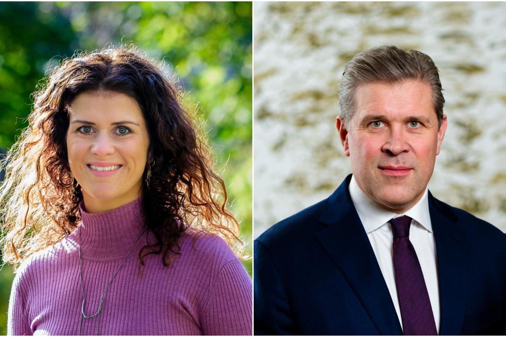 Þórdís Kolbrún Reykfjörð Gylfadóttir og Bjarni Benediktsson.