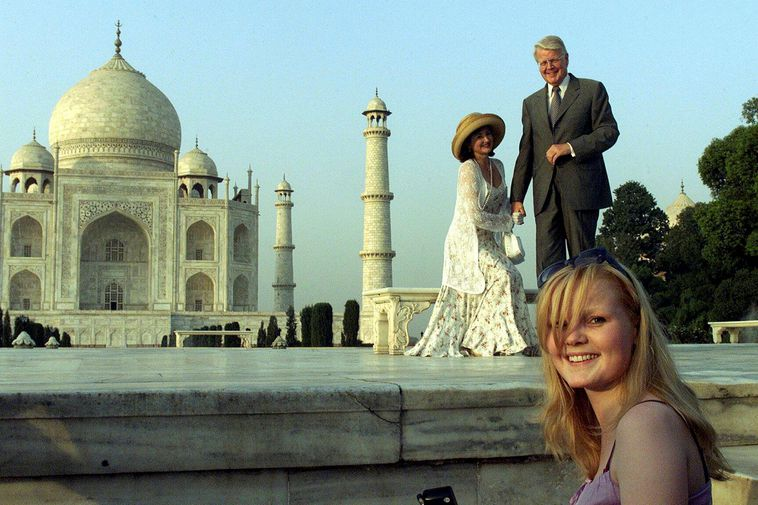 Grímsson with his new partner, Israel-born British national Dorrit Moussaieff, and his daughter on holiday …