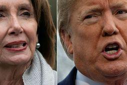 Nancy Pelosi, forseti fulltrúadeildar Bandaríkjaþings, og Donald Trump Bandaríkjaforseti. Bæði neituðu að gefa eftir í …