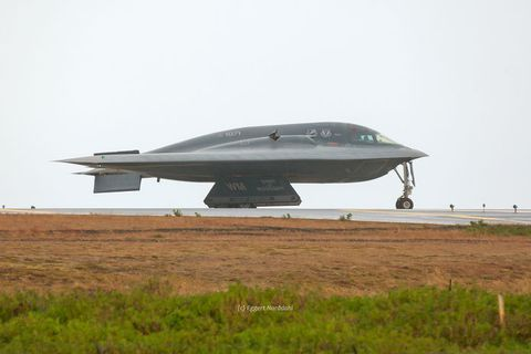 The B-2, at Keflavík Airport on Wednesday.