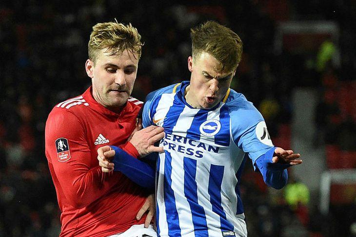 Luke Shaw í leikum gegn Brighton.