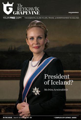 Þóra Arnórsdóttir, með stórkrossstjörnu og borða. Svona gæti Þóra tekið sig út á opinberri ljósmynd ...