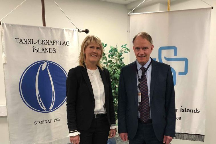 Elín Sigurgeirsdóttir, head of the Association of Icelandic Dentists, and Steingrímur Ari Arason CEO of ...