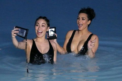 Stephanie Sheppard and Kim Kardashian having fun taking selfies in the Blue Lagoon.