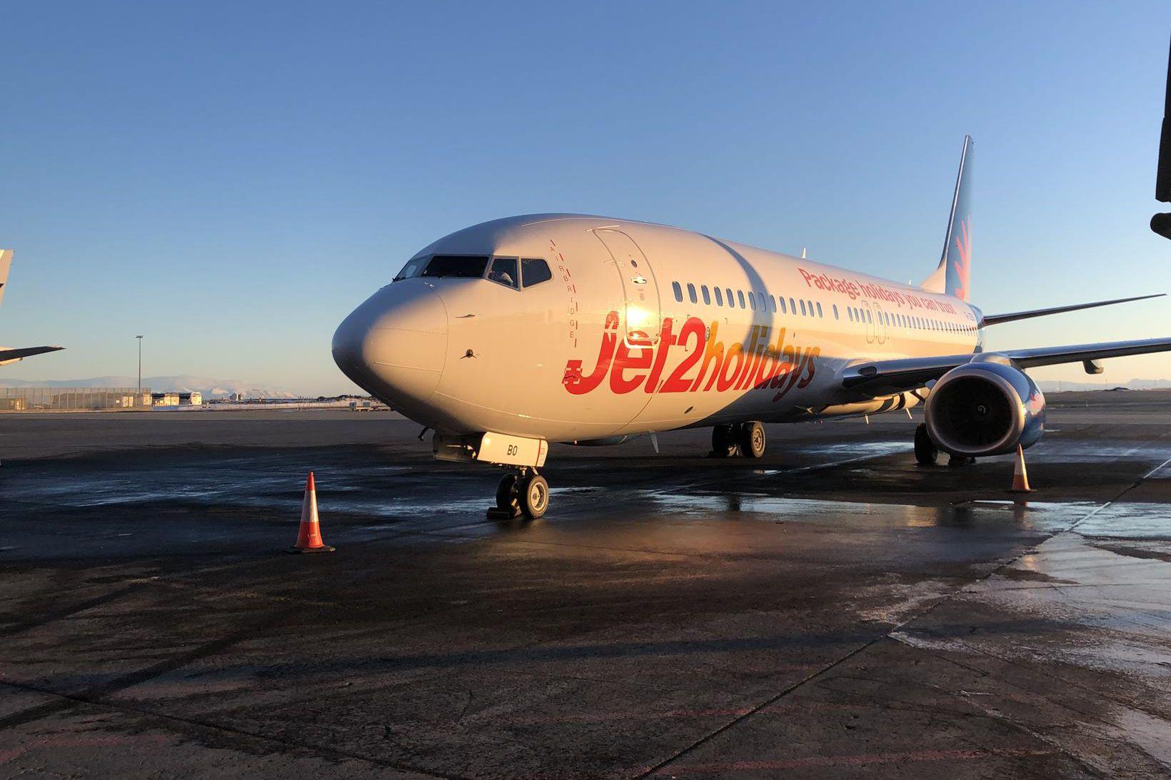 Frá fyrsta flugi Jet2.com til Keflavíkur 7. febrúar árið 2019.