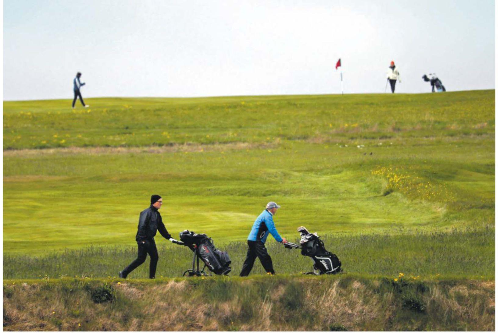 Frá golfvelli Keilis í gær.
