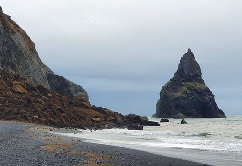 The picture was taken early this morning on Reynisfjara beach, where the landslide occurred.