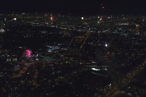 A drone captures the fireworks last night.