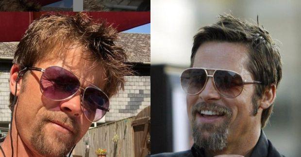 Nathan Meads, tvífari Brads Pitts, og leikarinn Brad Pitt eru mjög líkir.