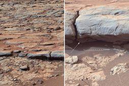 Myndir Forvitni frá Yellowknife Bay í Gale-gígnum á Mars.