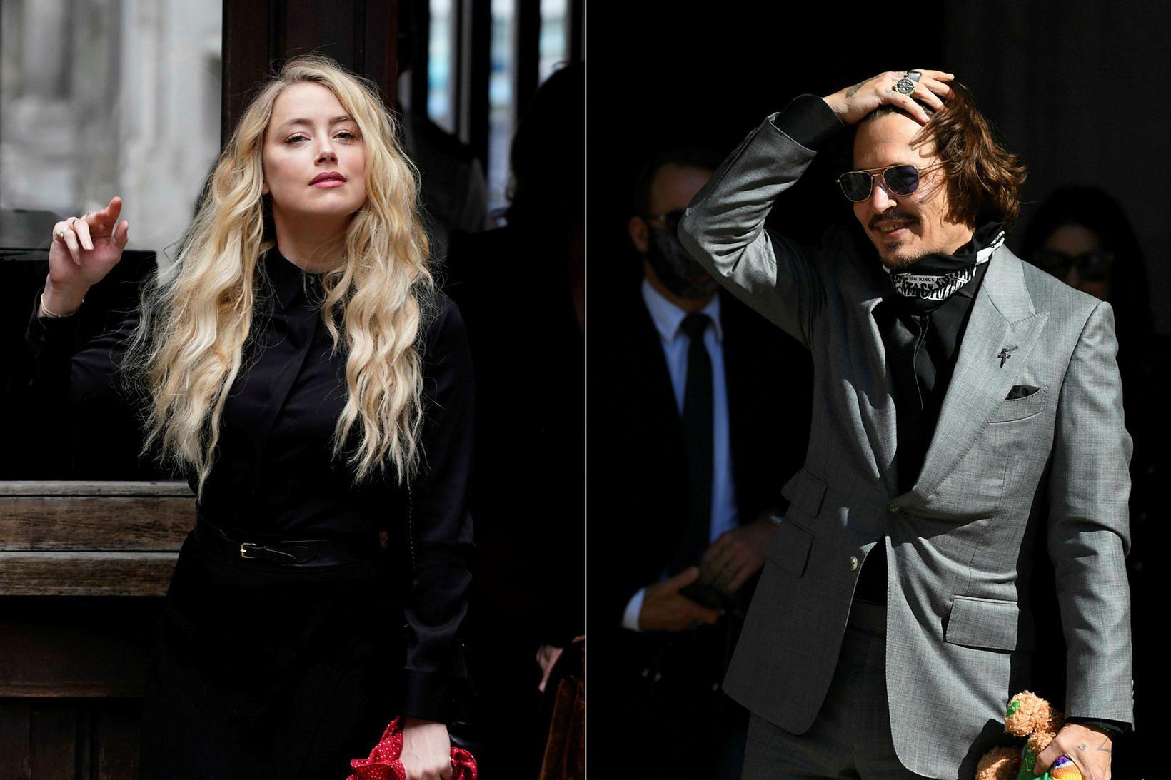 Amber Heard og Johnny Depp á lokadegi réttarhaldanna í London …