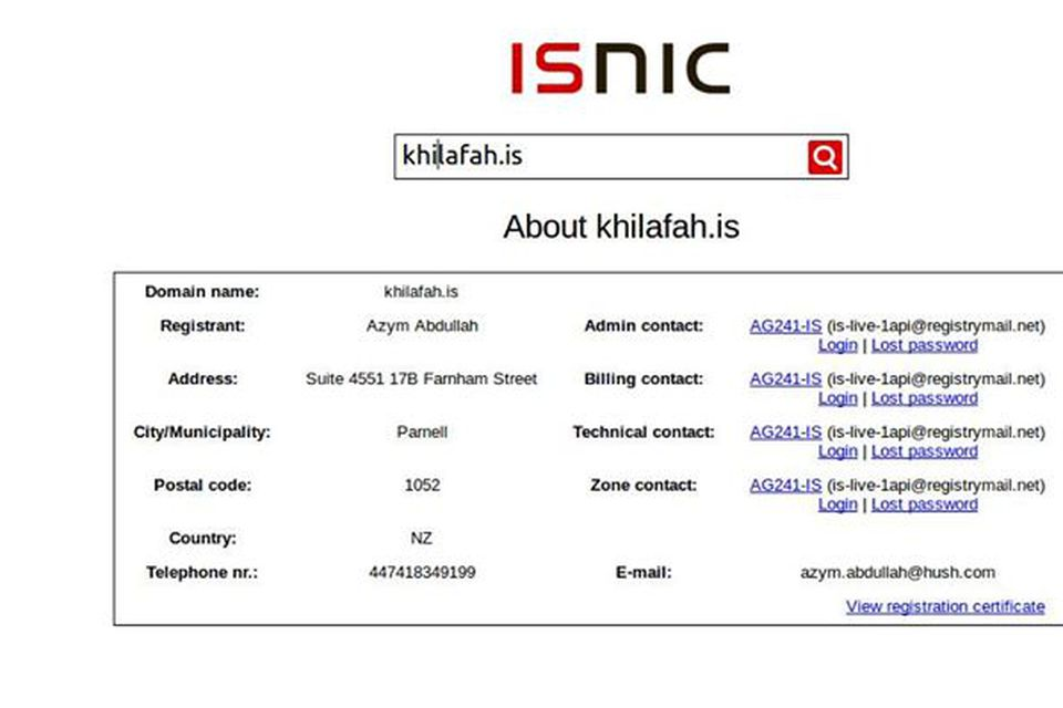 Skráning khilafah.is á ISNIC.