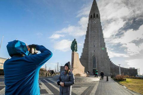 Tourists at Hallgrímskirkja church in central Reykjavik.