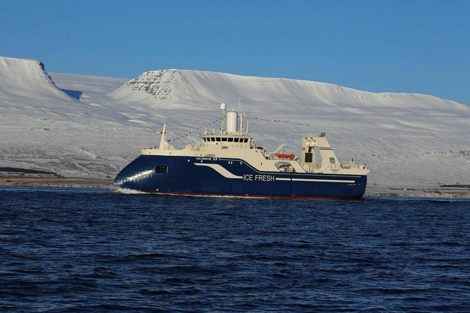 Kaldbakur er eitt þeirra skipa Samherja sem flúðu veðrið og …