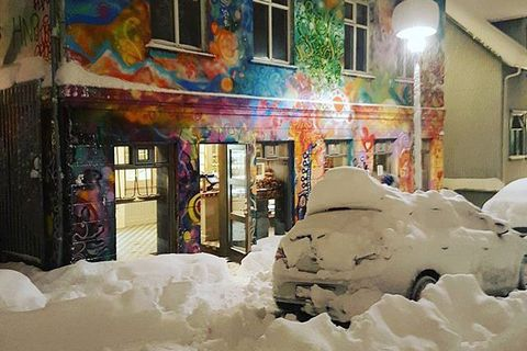 The first branch of Brauð & Co is located in this funky building in downtown Frakkastígur, This photo was taken during last week's bout of heavy snow.