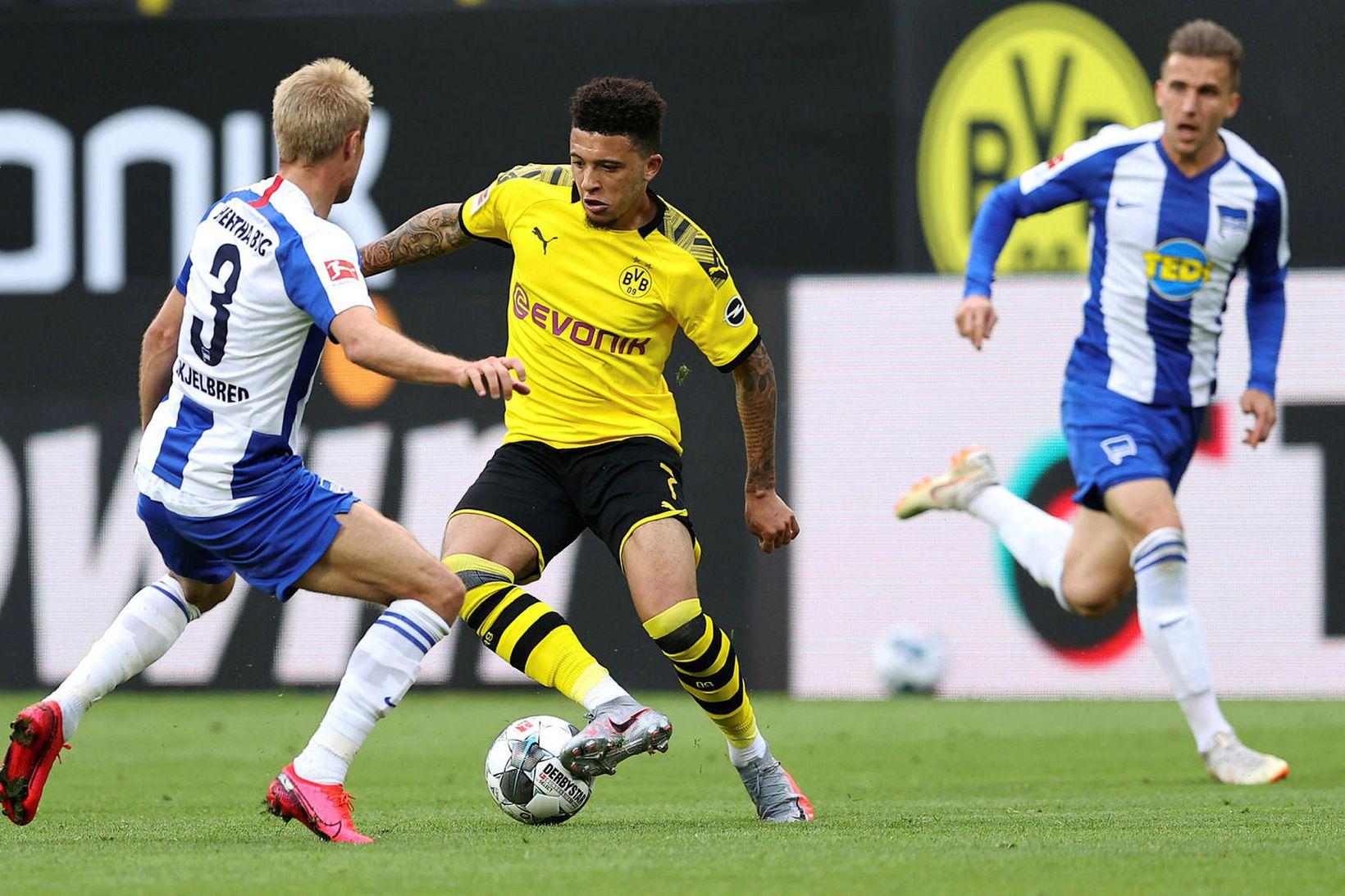 Jadon Sancho í leik gegn Hertha Berlín í dag.