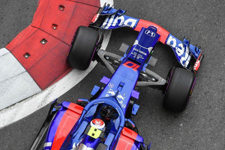 Toro Rosso á ferð undir stjórn Pierre Gasly.