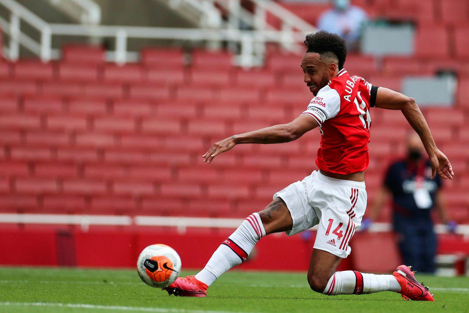 Pierre-Emerick Aubameyang skorar í leik gegn Norwich í sumar.