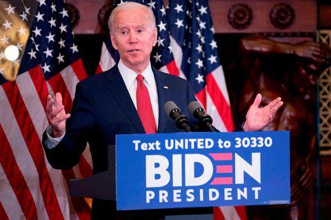 Joe Biden ávarpar stuðningsmenn sína í dag.