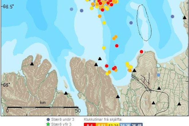 Grímsey is the northernmost point of Iceland. Here you can see the earthquakes occuring with the green stars signifying quakes over the magnitude of 3.