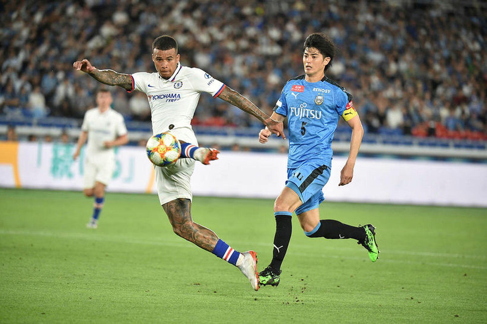 Kenedy í baráttunni fyrir Chelsea í Japan í dag.