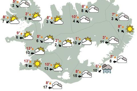 The weather in Iceland at 2 pm today.