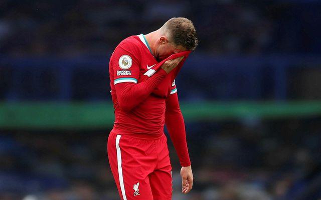 Jordan Henderson skoraði mark í lok leiks Liverpool og Everton sem var dæmt af.