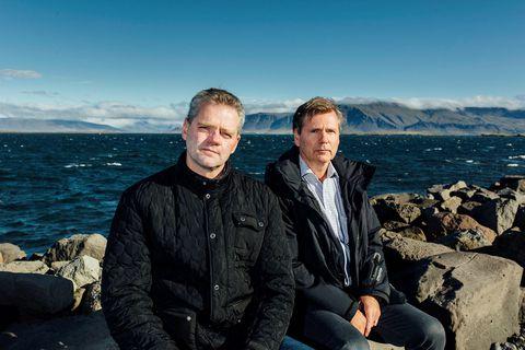 Hólmgeir Jónsson (t.h.), framkvæmdastjóri Sjómannasambands Íslands, ásamt Valmundi Valmundssyni, formanni félagsins.