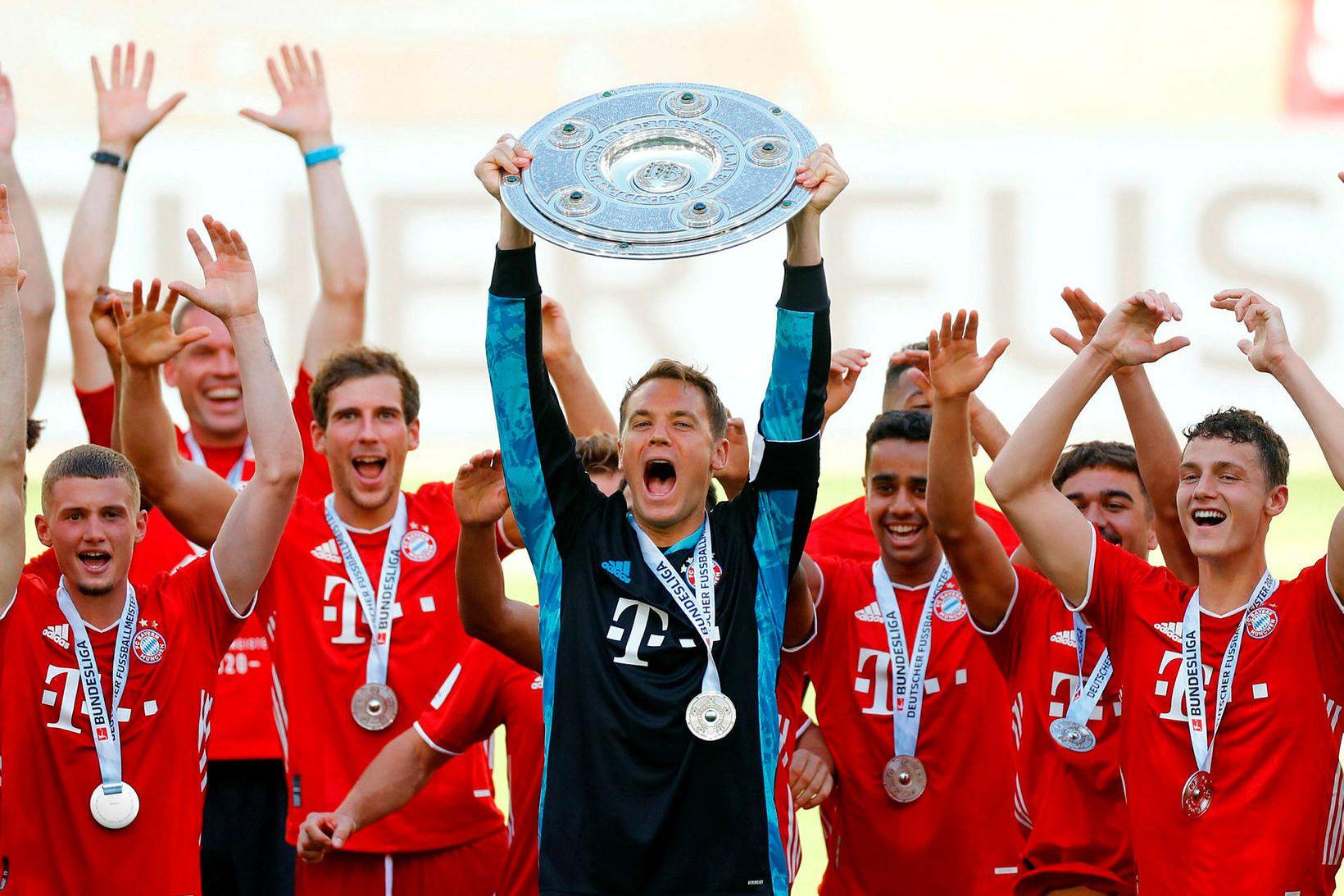 Bayern München fagnaði þýska meistaratitilinum fyrir tómum leikvangi.