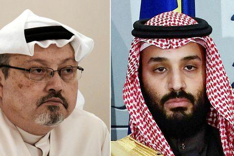 Samsett mynd af Jamal Khashoggi (til vinstri) og krónsprinsinum Mohammed bin Salman.