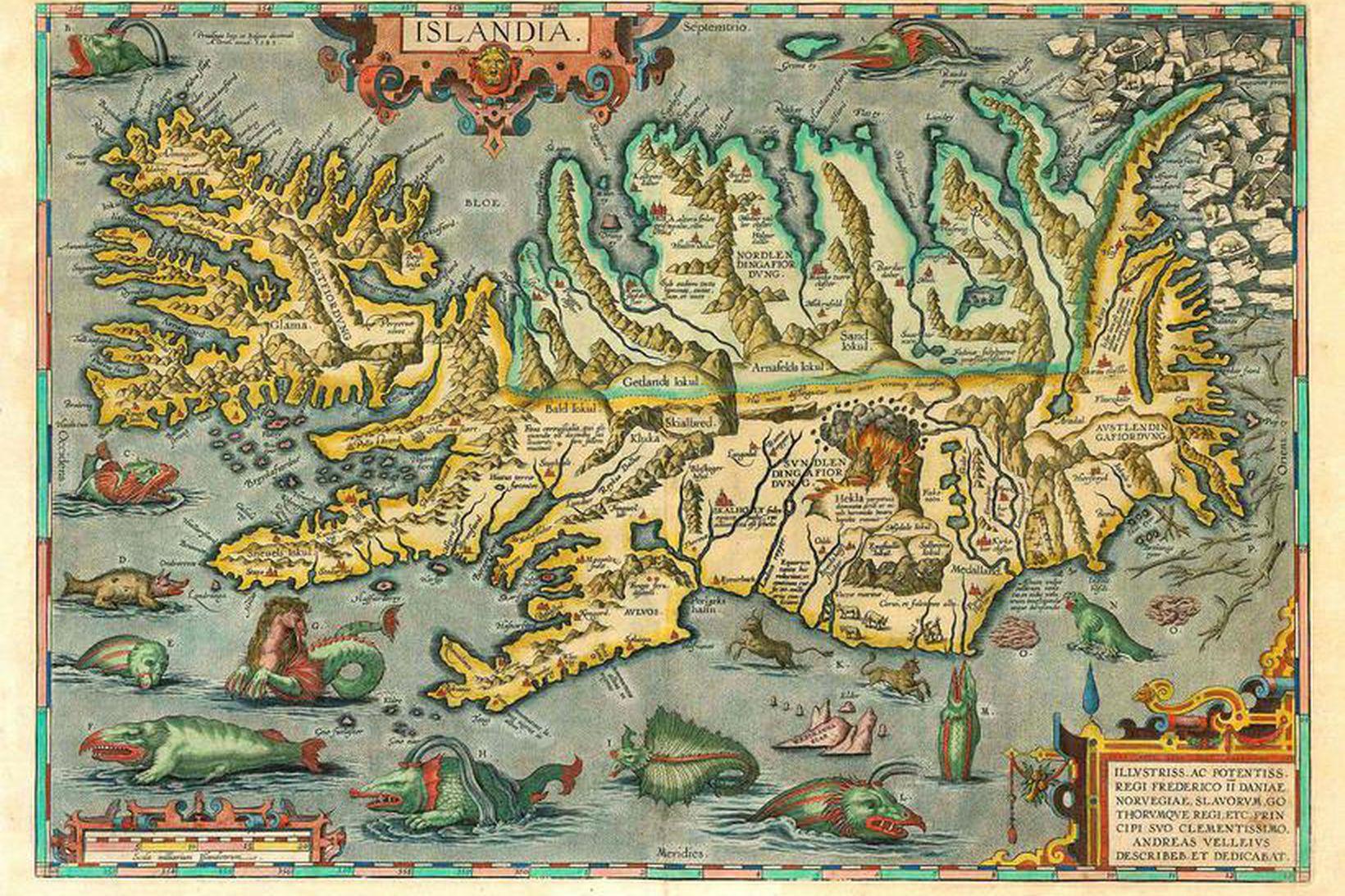Gamalt Íslandskort í eigu Reynis sem verður á nýja safninu.