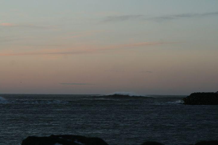 Miklar grynningar eru við Landeyjahöfn, eins og sést á myndinni sem tekin var í gær.