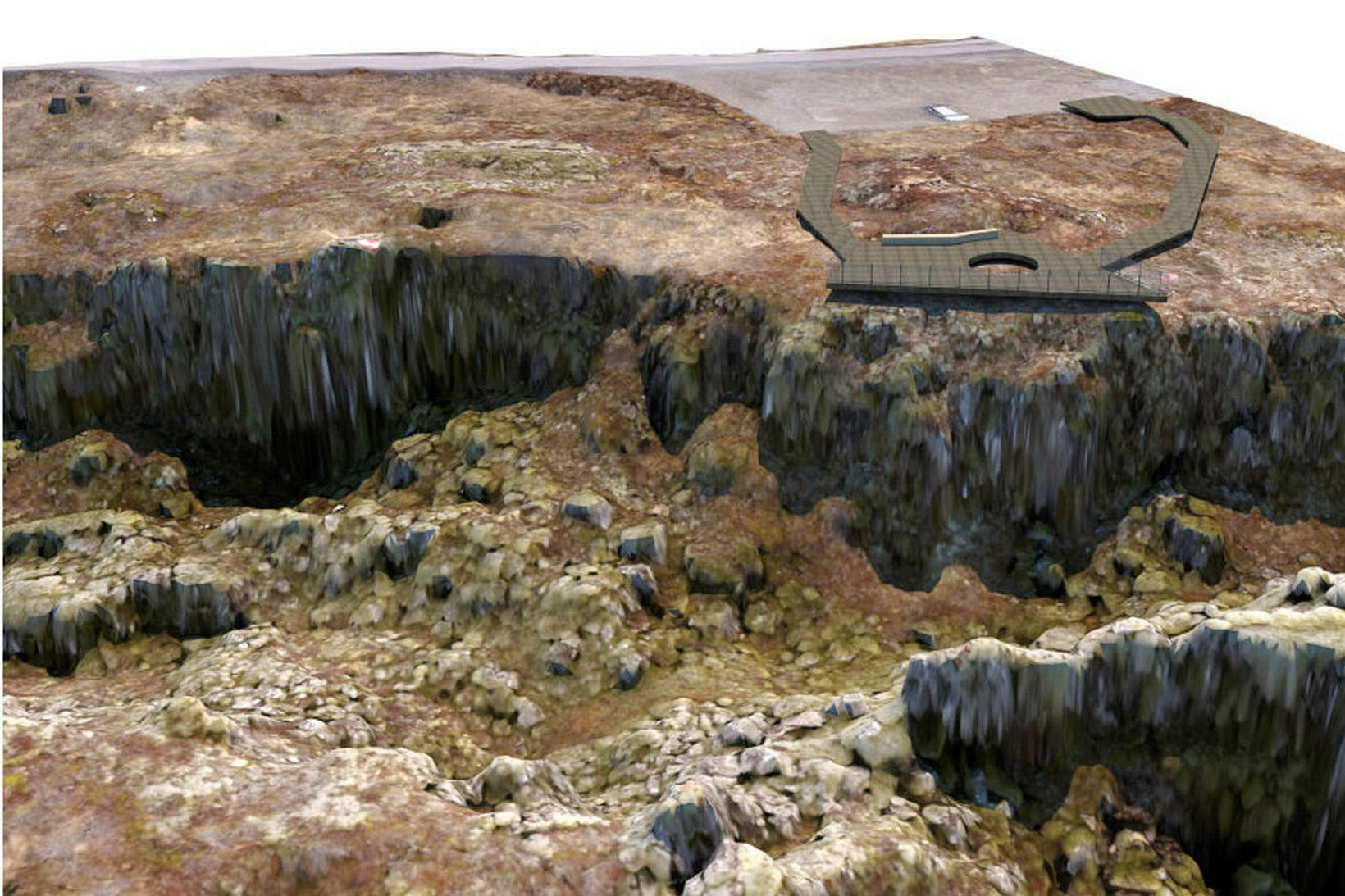 Hugmynd að nýjum útsýnispalli við Hrafnagjá á Þingvöllum.