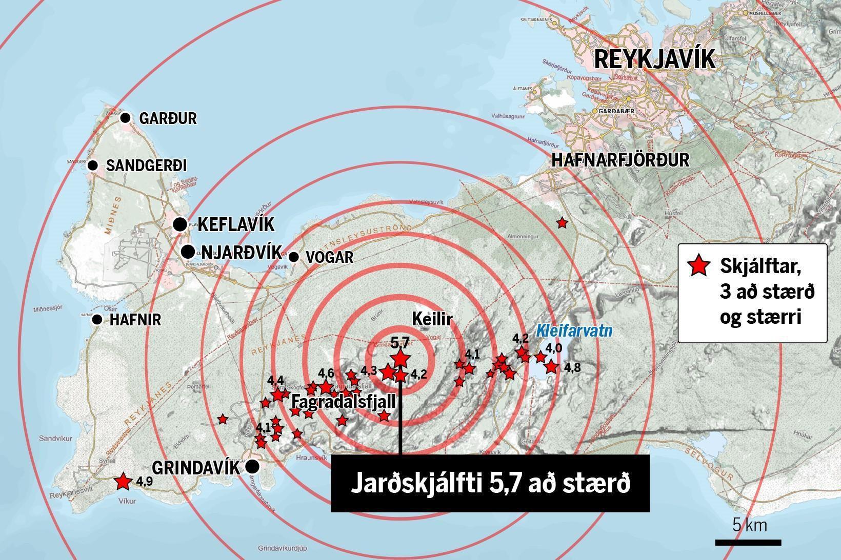 Jarðskjálftahrina hófst á Reykjanesskaga um tíuleytið miðvikudaginn 24. febrúar 2021.