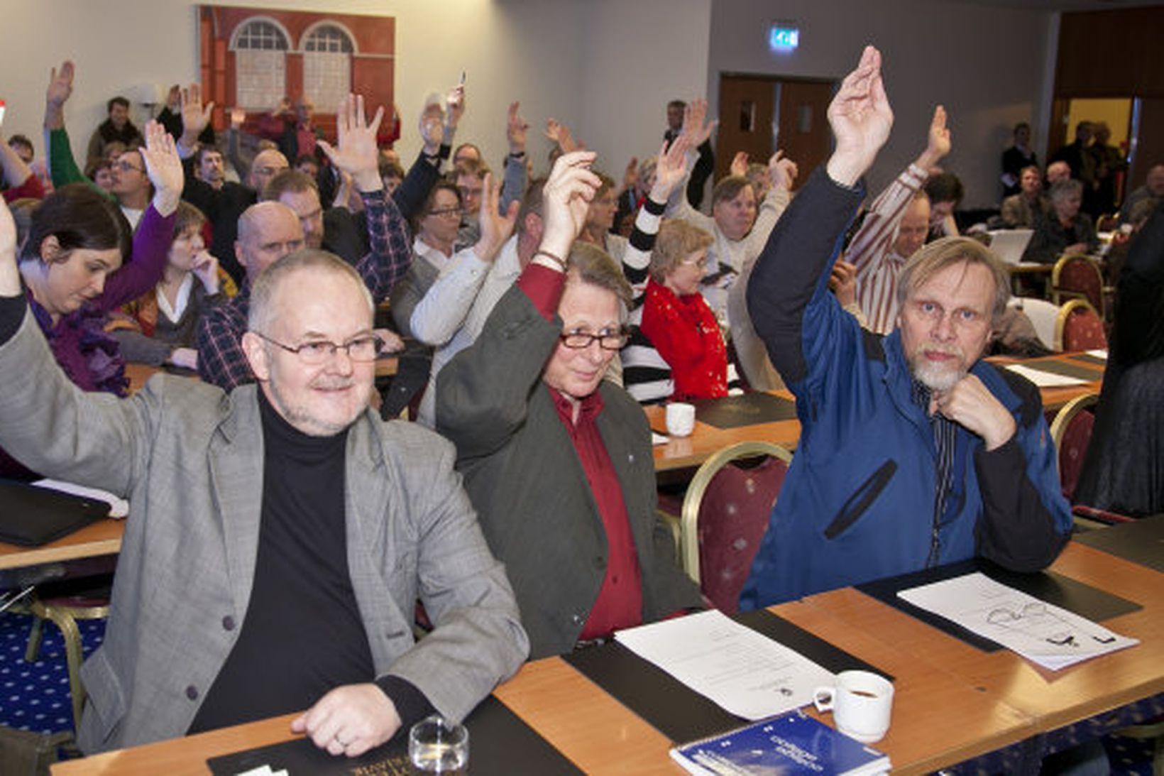 Frá flokksráðsfundi VG í Reykjavík fyrr í dag.