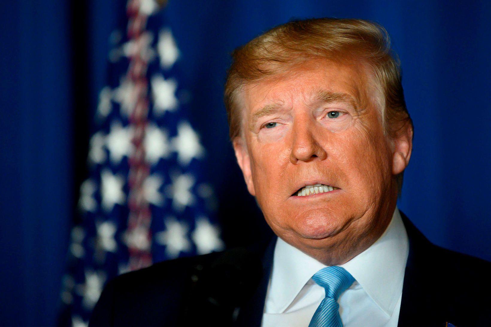 Donald Trump, forseti Bandaríkjanna, flytur ávarp um deiluna við Íran …