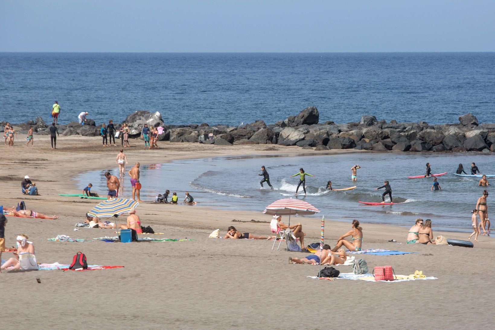 Ljósmynd tekin á Playa de Las Amaricas þann 28. júlí …