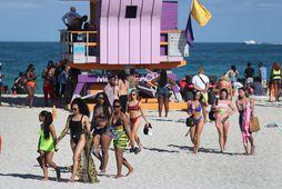 Þessi ljósmynd var tekin á Miami þann 15. mars síðastliðinn þegar yfirvöld lokuðu ströndinni klukkan …