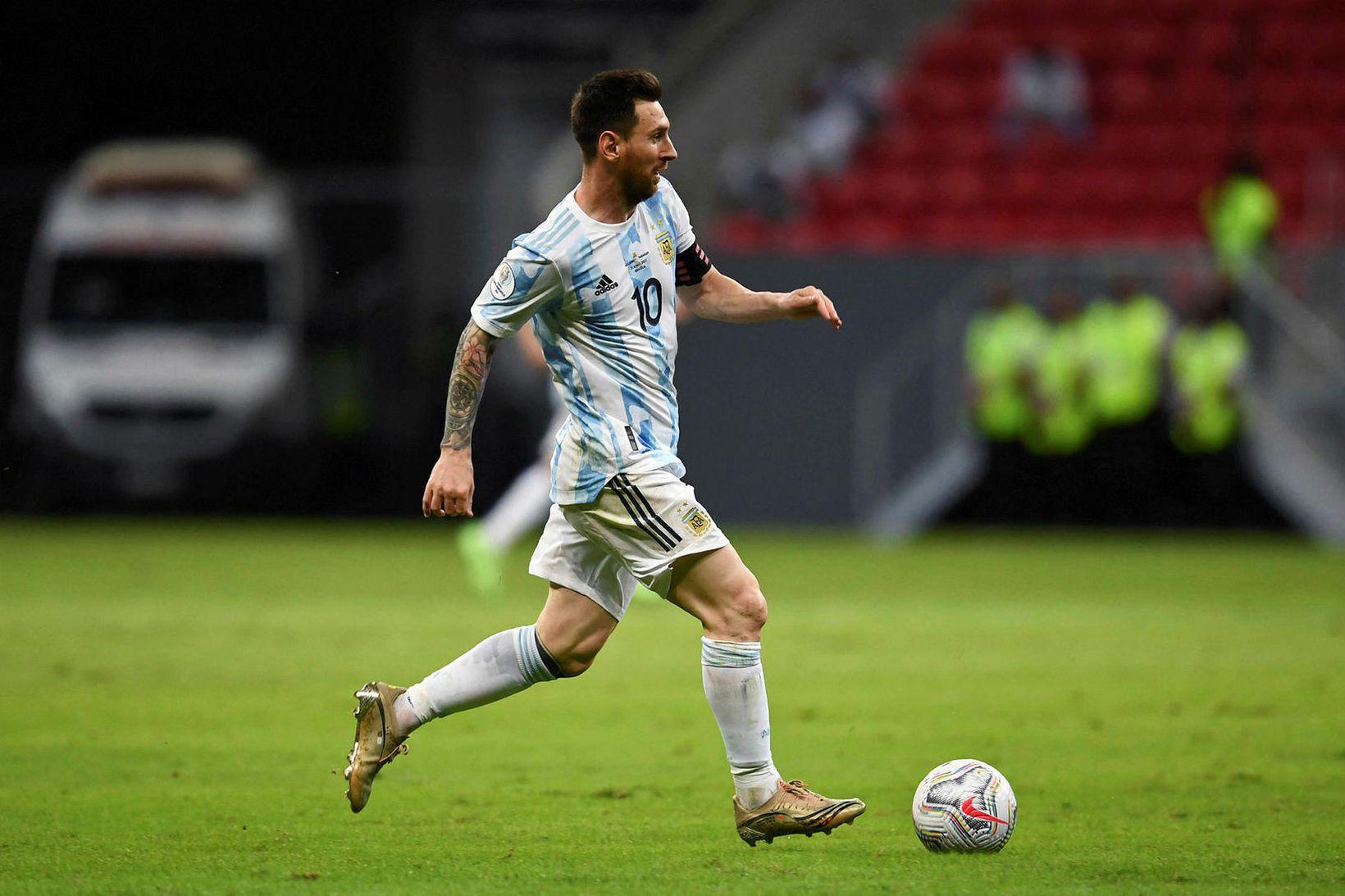 Lionel Messi í sínum 147. landsleik í nótt.