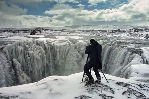 Martin Schulz takes it to the edge when he photographs Hrafnbjargarfoss waterfall.